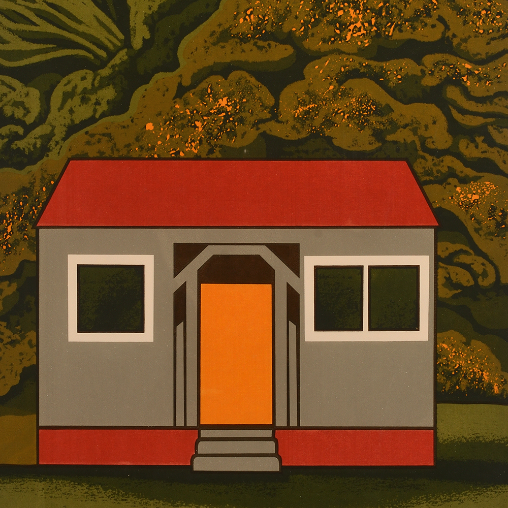 Robin White, Sam's place, Bottle Creek (1971), screenprint, Collection of Aratoi Wairarapa Museum of Art and History.