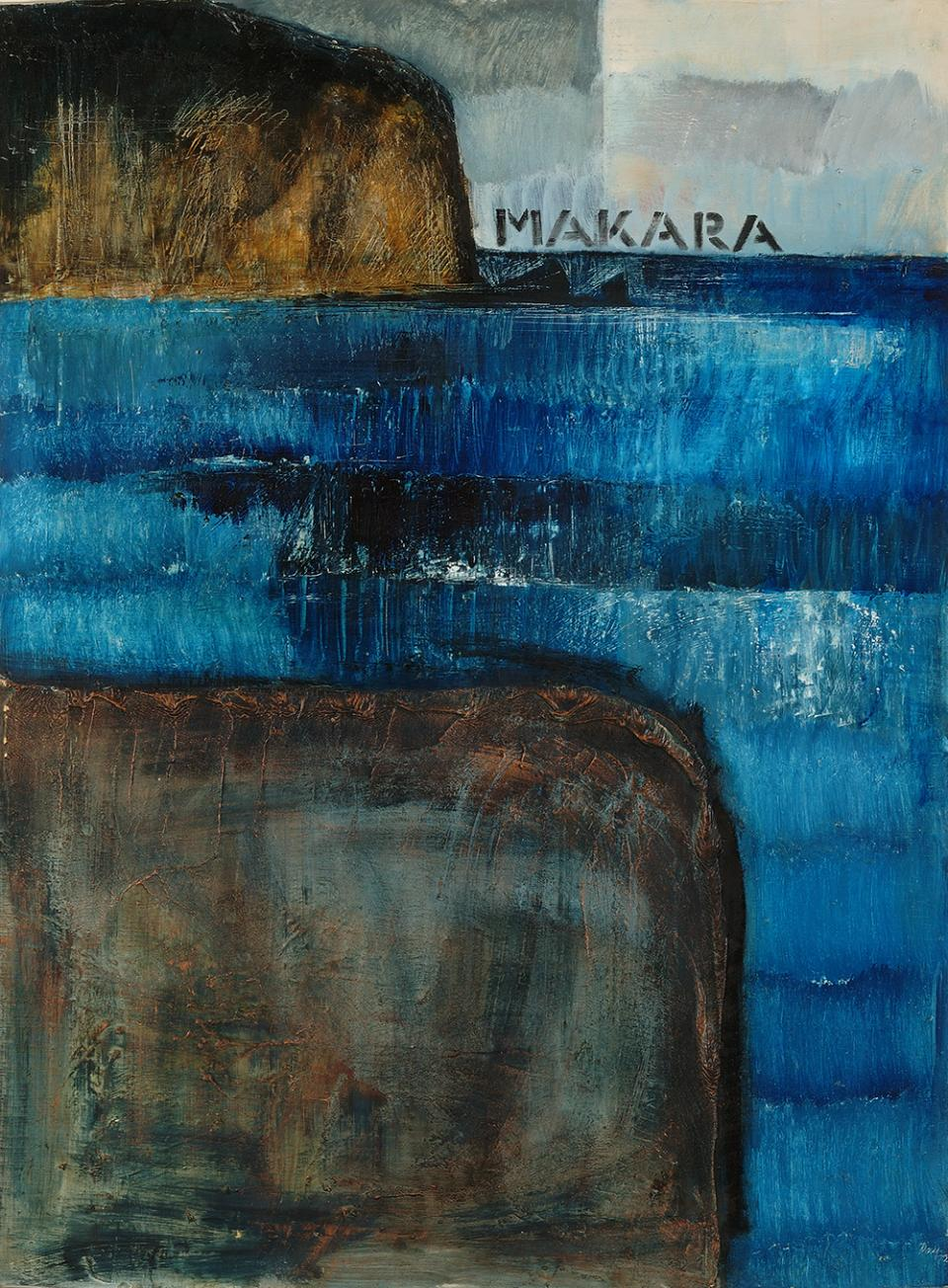 Melvin Day, Makara (1972), oil on canvas, Collection of Aratoi Wairarapa Museum of Art and History. Norman Prior bequest. Courtesy of the Oroya and Melvin Day Charitable Trust.